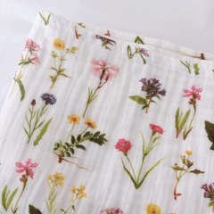 Organic Cotton Muslin Baby Wrap, Vintage Wildflowers. Swaddle Blanket