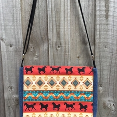Upcycled Denim Satchel – Tribal Horse Print