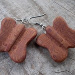 Butterfly earrings handcrafted from reclaimed timber with sterling silver hooks