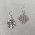 SQUARE EARRINGS, Sterling Silver Textured earrings. Upcycled from Silverware.