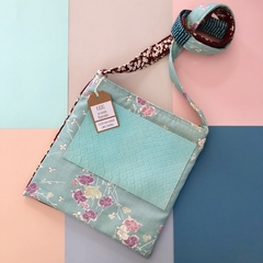 Handcrafted kimono fabric and leather handbag- mint green and pink