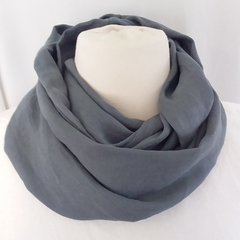 Linen Infinity Scarf/ Adult Infinity Scarf/ Unisex Infinity - Charcoal in Colour