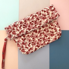 Handcrafted kimono fabric clutch bag- pink floral
