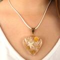 Beach Wedding Jewellery, Large Gold Seashell & Heart Pendant, Statement Necklace