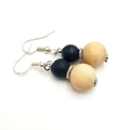 Black and Wood Bead Earrings on stainless steel hooks for happy ears