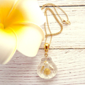 Delicate Beach Lovers Necklace, Shimmering White/Gold Shells In a Resin Scallop