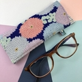 Glasses case, handcrafted Kimono fabric sunglasses blue and pink floral