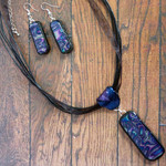 Blue/Violet Polymer Clay Long Bar Necklace Set, Black Choker & Dangle Earrings