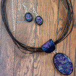 Blue & Purple Oval Necklace Gift Set, Polymer Clay Pendant and Dangle Earrings