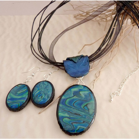 Blue & Green Oval Necklace Gift Set, Polymer Clay Dangle Earring Set