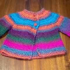 Hand-knitted, 100% acrylic baby jacket and beanie set.  (0-3 months)