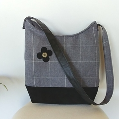 Winter Grey and Leather Hobo