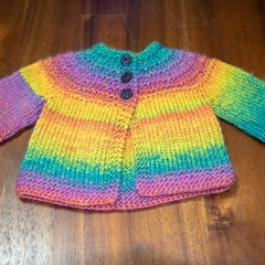 Hand-knitted, 100% soft acrylic baby jacket. (0-3 months).