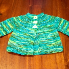 Hand-knitted, 100% merino baby jacket (0-3 months)