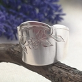OPEN BAND 'SPOON RING', Upcycled from a Vintage Knife. Etched Floral Design.