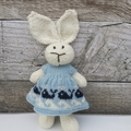Ava the Hand Knitted  Bunny Rabbit Toy with cute Whale Party Dress
