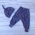 Navy floral set , pants hat, cotton spandex jersey, choose size to 18 months
