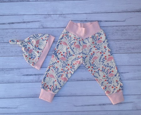 Baby  flamingo pants and hat,organic cotton jersey, choose size to 18 months