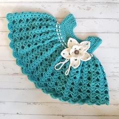 Little Dress - Size 00 - Hand Crocheted - Merino