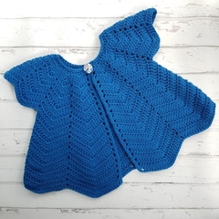 Little Cardigan - Size 0 - Hand Crocheted - Merino