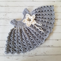 Little Dress - Size 00 - Hand Crocheted - Merino