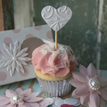 10 Heart Cake Toppers ~ Heart Cupcake Toppers ~ Wedding Toppers ~ Wedding Decor