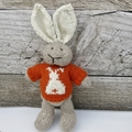 William the Hand Knitted  Bunny Rabbit Toy with cute Orange Bunny Rabbit Jumper