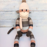 'Anderson' the Sock Monkey - autumn stripes -*READY TO POST*