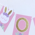 Bunny ONE Banner. Pink, White Rabbit, some bunny is one. First birthday party.