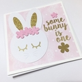 Bunny Rabbit greeting card, Some Bunny is One. Birthday card, first birthday.