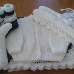Babies Gift Pack, Bunny Rug, Cardigan, Beanie, Bootees, Coat Hangers and Rabbit