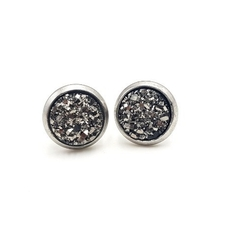 Small Dark Silver Crystal Stud Earrings