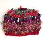 Unique embellished knit hat/beret for teen/adult. Red,green,brown. Textural.
