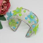 Turquoise Lime Crochet Wire Cuff Bracelet, Crochet Jewellery, Crochet Jewelery ,