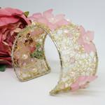 Pink Flower Crochet Wire Cuff Bracelet, Crochet Jewellery, Crochet Wire