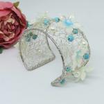Turquoise Cream Crochet Wire Cuff Bracelet, Crochet Jewellery, Crochet Wire