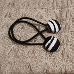 Hairband / Elastic - Black and White / Zebra / fabric covered button (19mm)