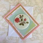 Pink Blank Card with Red Roses on White Circle