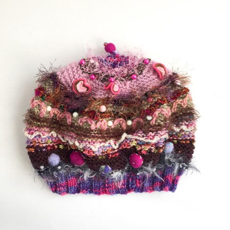 Embellished knit hat/beret for teen/adult. Textures, beads, embroidery. Unique.