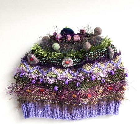 Embellished knit hat/beret.  Green, purple, brown. Teen/adult size. Beads
