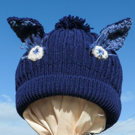 Child's ribbed hat with character eyes and ears.   Wool, warm, snuggly.