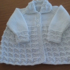 White Patterned Newborn Baby Jacket.