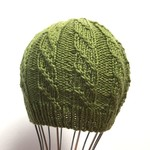 3-6m Baby, Beanie Hat, Hand Knit, Wool , Green
