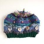 Unique embellished knit hat/beret. Blue/green. Beads. Felt. Textures.