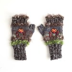Unique knitted fingerless gloves. Textures. Beads. Owl motif. Adult. Brown/green