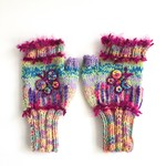 Embellished knitted fingerless gloves. Adult size. Butterfly. Colourful. Unique.