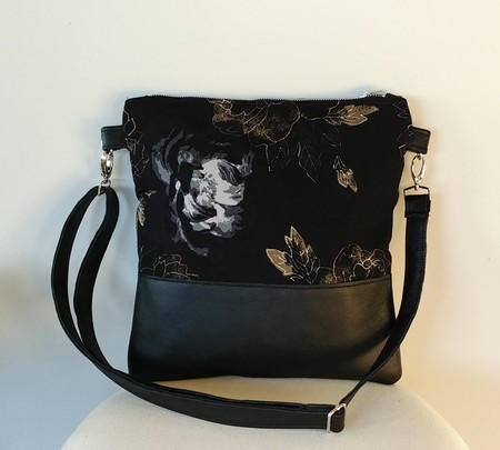 Black leather and Fabric Tote