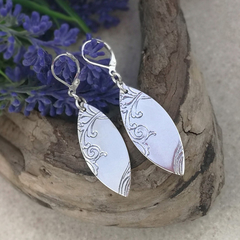 MARQUISE EARRINGS, Sterling Silver. Upcycled from Vintage Silverware.