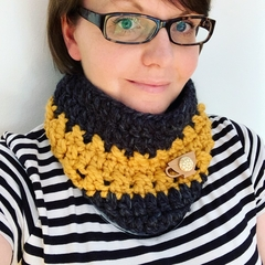 Crochet Cowl in Mustard and Charcoal