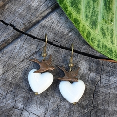 Love Birds - ceramic heart earrings